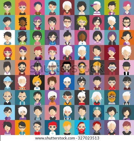 Set of people icons in flat style with faces. Vector women, men character Set 28 b - stock vector