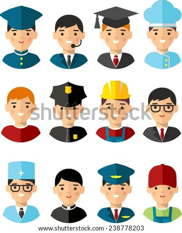 Set of people icons. Occupation avatars in colorful style  - stock vector