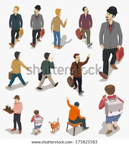 set of people isometric vector - stock vector
