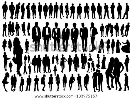 Set of people silhouettes - stock vector