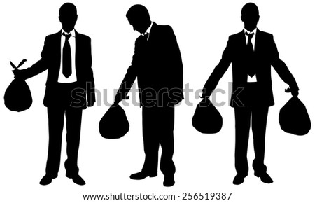 set of people with garbage bags - stock vector