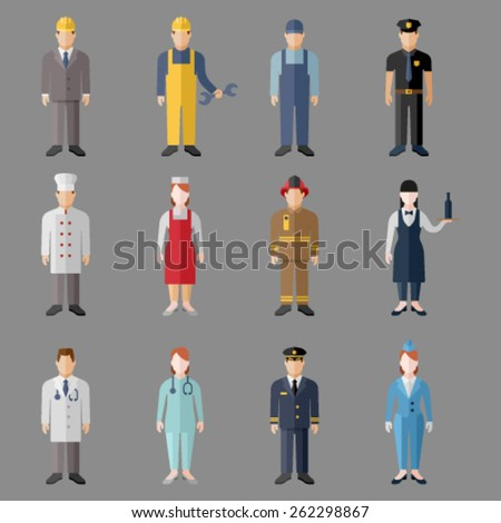 Set of people workers in uniform icons in flat style with faces. Vector men and women character. Template concept collection of web profile avatar. - stock vector