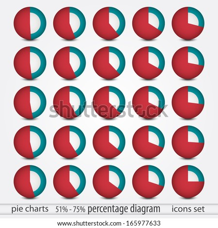set of percentage symbols can use like marketing report icons - stock vector