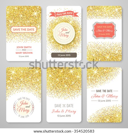 Set of perfect wedding templates with golden confetti theme. Ideal for Save The Date, baby shower, mothers day, valentines day, birthday cards, invitations. Vector illustration for gold design. - stock vector