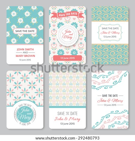 Set of perfect wedding templates with pattern theme. Ideal for Save The Date, baby shower, mothers day, valentines day, birthday cards, invitations. Vector illustration for pretty design. - stock vector