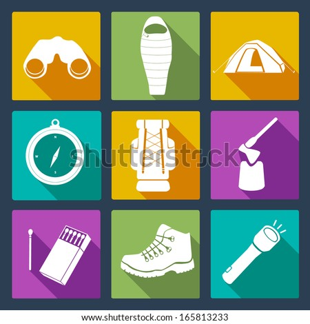Set of perfectly drawn travel icons - including binocular, sleeping bag, tent, compass, backpack, axe, matches, travel boots and flashlight.  - stock vector