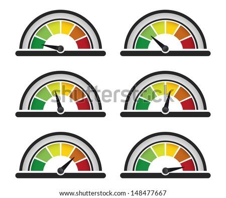 set of performance or speed meter gauge - stock vector