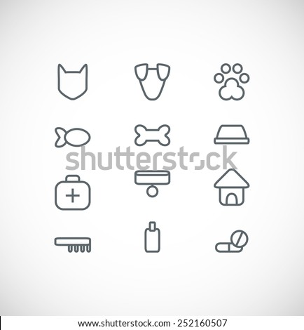 set of pet icons - stock vector