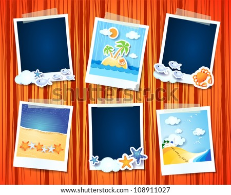 Set of photo frames, holidays theme - stock vector