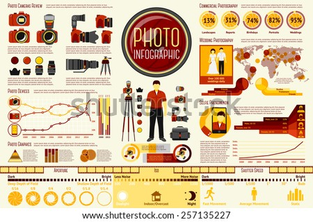 Set of Photographer work Infographic elements with icons, different charts, rates etc. With places for your text. Vector - stock vector