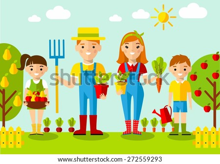 Set of pictures  gardener family, garden, mill and landscape with gardening concept. Garden set icons and landscape with a garden, various plants, trees, mill, barn,tractor in flat style  - stock vector