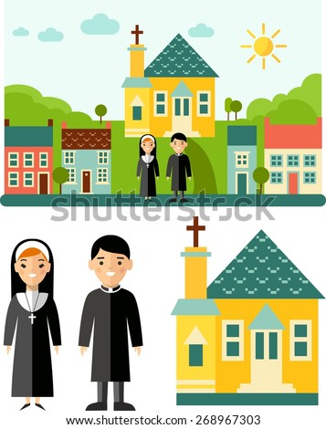 Set of pictures priest, church and landscape with religion concept  Picture with religious people, church and cityscape in flat style  Vector illustration of a religious people, priest ,nun, church  - stock vector