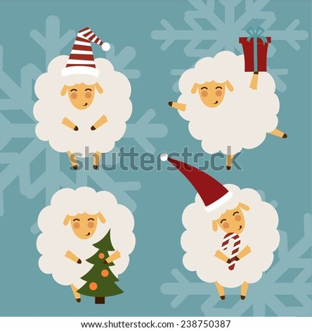 set of pictures with sheep, who are preparing for the new year illustrations - stock vector