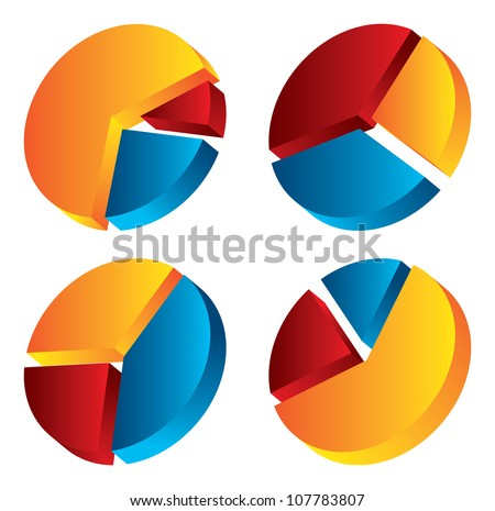 set of pie graphic chart - stock vector