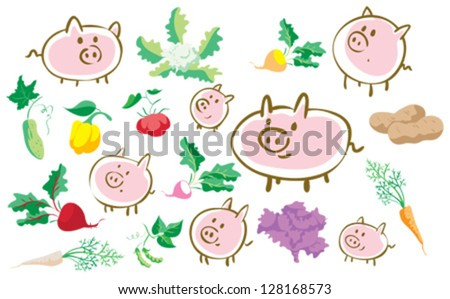 Set of pigs and vegetables - stock vector