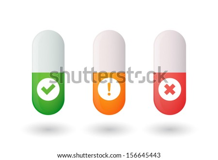 Set of pills with icons - stock vector