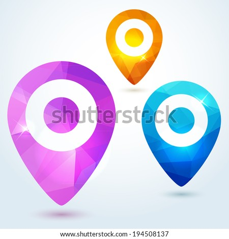 Set of pin map pointers with bright modern triangle pattern - stock vector