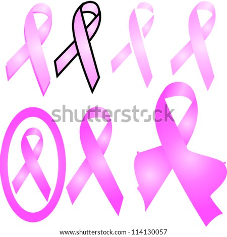 Set of pink breast cancer ribbons vector - stock vector