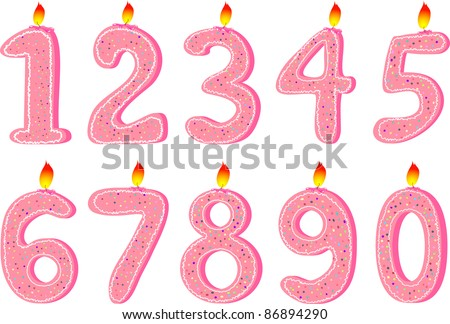 Set of pink candles for Birthday party - stock vector