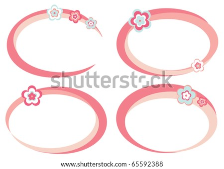 Set of pink frames decorated with flowers - stock vector