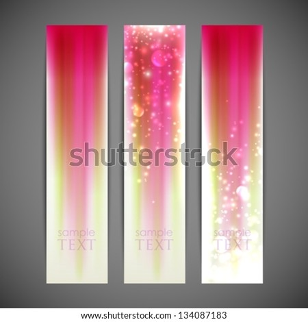 set of pink striped banners - stock vector