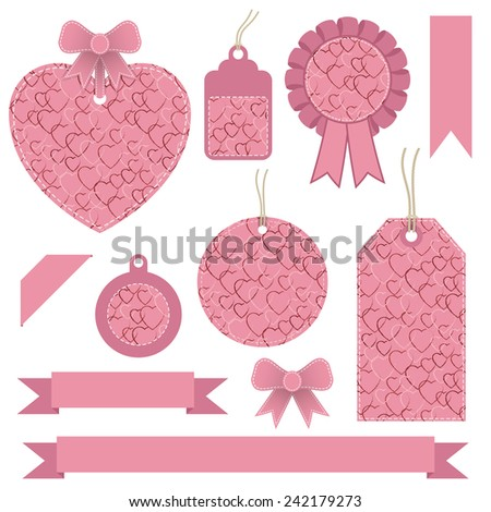 set of pink valentine labels, tags and ribbons, isolated on white - stock vector