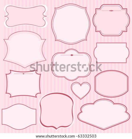 Set of pink vector frames and ornaments with  text. Perfect as invitation or announcement - stock vector
