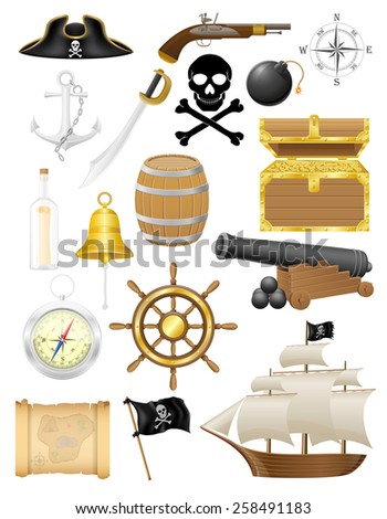 set of pirate icons vector illustration isolated on white background - stock vector