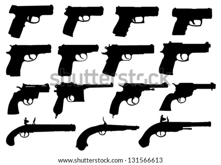 Set of pistols silhouettes - stock vector
