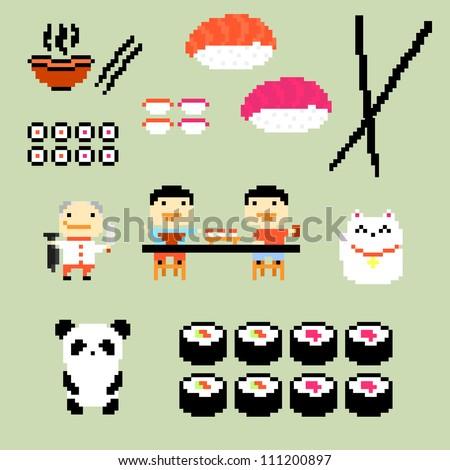 Set of Pixel Art Icons on