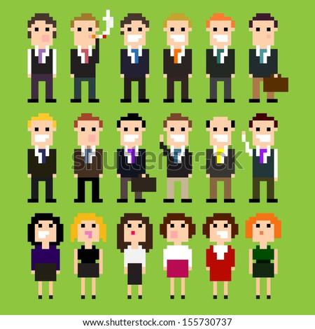 Set of pixel art office people in suits, vector illustration - stock vector