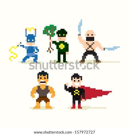 Set of pixel art posing superheroes - stock vector