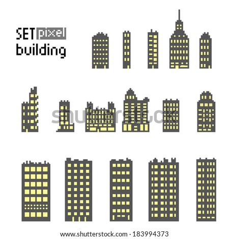 Set of pixel building isolated on white background - stock vector