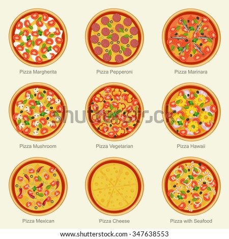 Set of pizza with different ingredients. Vector flat pizza on white background. - stock vector