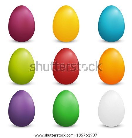 Set of Plain Colored Easter Eggs - stock vector