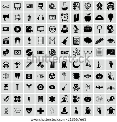 set of plane icons. Education, medicine, halloween, movie and cinema - stock vector
