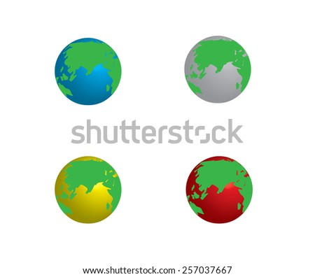 Set of planet earth, from different colors for illustration background - stock vector