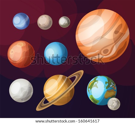 Set of planets of solar system - stock vector
