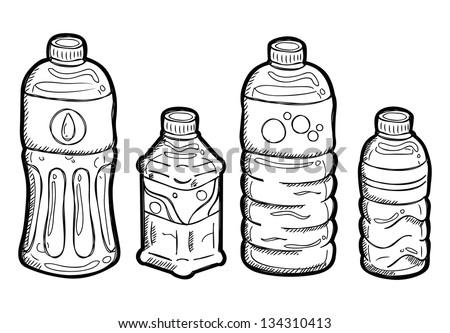 Set of plastic bottle doodle - stock vector
