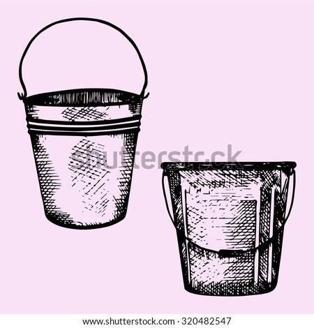 set of plastic bucket, metal bucket with handle, doodle style, sketch illustration - stock vector