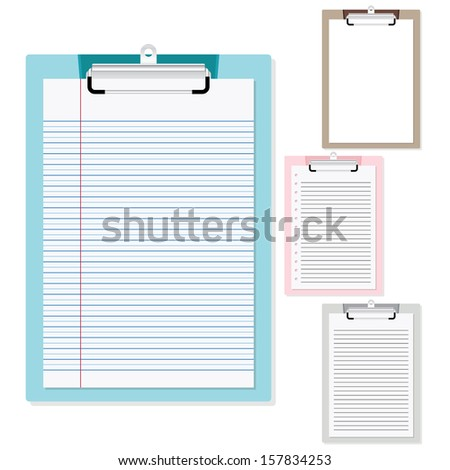 Set of plastic clipboard with paper on isolated white background - stock vector
