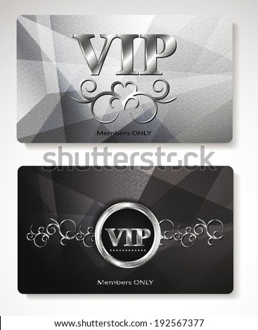 Set of platinum Vip cards with floral design elements - stock vector