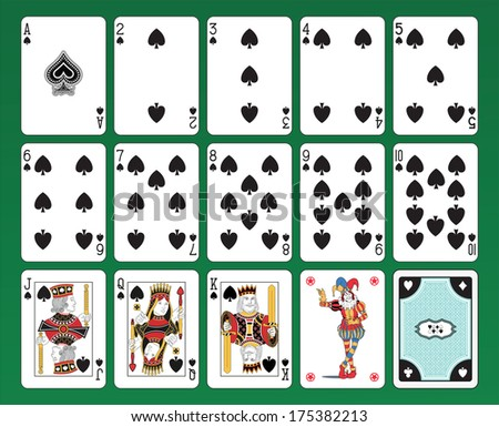 Set of playing cards of Spades on green background. The figures are original design as well as the jolly, the ace of spades and the card back.  - stock vector