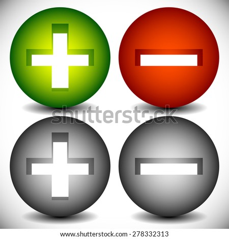 Set of plus minus, add remove signs, symbols or icons. Vector graphics. - stock vector