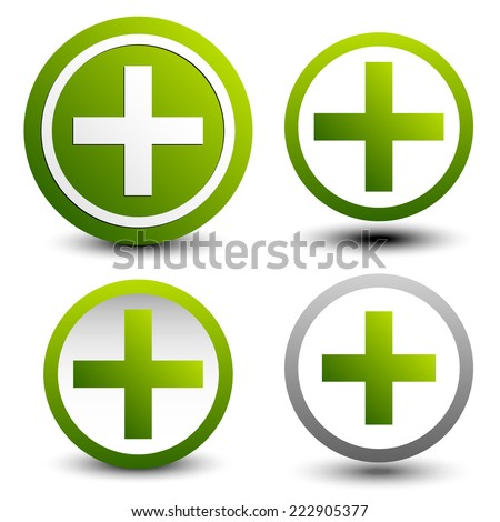 Set of plus signs, symbols. Simple math, first-aid, health care or addition, support icons. - stock vector