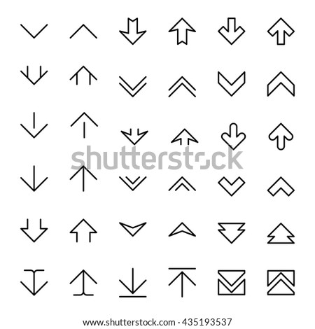 Set of pointer arrow up and down scrolling buttons. Vector illustration - stock vector