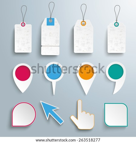 Set of pointers, markers and price stickers on the gray background. Eps 10 vector file. - stock vector