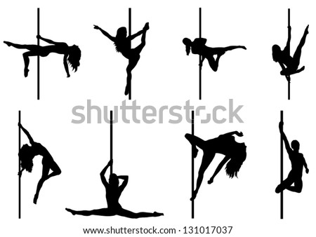 Set of Pole Dancer. Vector Silhouettes - stock vector