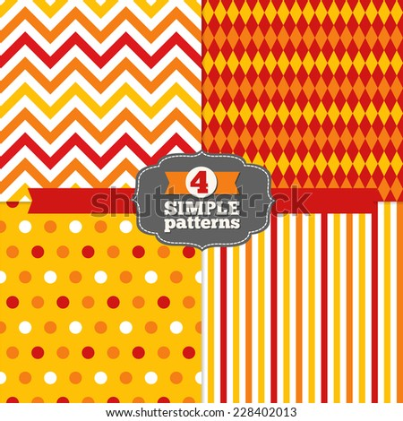 Set of Polka Dot, Chevron, Stripes and Harlequin Holiday Patterns in Yellow, Orange, Red and White. Rhombus, zigzag, dots. Perfect for wallpapers, pattern fills, web page backgrounds, textile  - stock vector