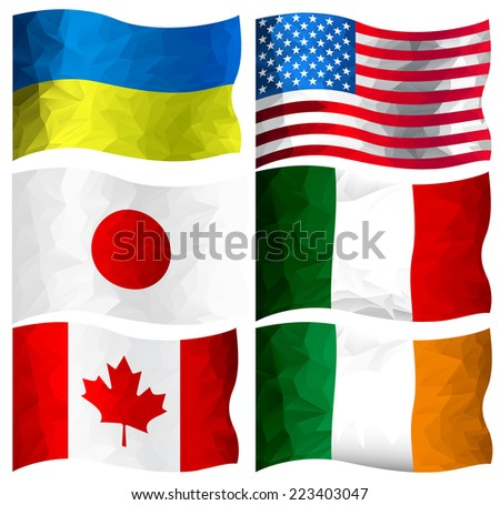 Set of polygon designed flags of Ukraine, Usa, Italy, Canada, Japan and Ireland - stock vector